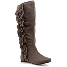 Fergalicious Tossle Too Boot ($15) ❤ liked on Polyvore featuring shoes, boots, flats, clearance boots, flats boots, flat heel shoes, ruffle boots, flat boots and flat shoes