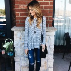 Stitch fix: I love peplum tops like this so cute and look stylish whether with jeans and flats or heels.