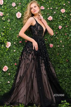Black Plunging Neckline Beaded Pageant Dress 33778