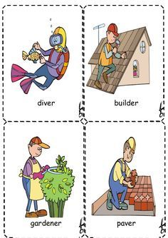 These are flashcards for jobs/ occupations. Print them on a hard paper and cut them one by one. You may remove the name for each job and leave the identificati… English Lessons For Kids, Kids English, English Book, Learn English, English Games, English Activities, Vocabulary Cards, English Vocabulary, Flashcards For Kids