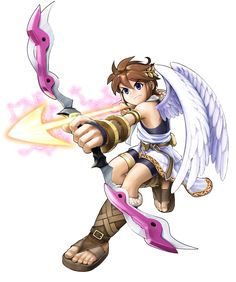 View an image titled 'Pit & Fortune Bow Art' in our Kid Icarus: Uprising art gallery featuring official character designs, concept art, and promo pictures. Super Smash Bros, Kid Icarus Uprising, Bow Art, Character Art, Character Design, Video Game Characters, Fictional Characters, Video Game Art, Video Games