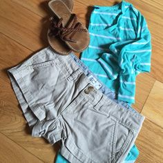 Khaki shorts Classic khaki shorts, low rise. Great condition. Stretch cotton makes them very comfy! American Eagle Outfitters Shorts