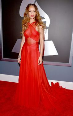 Rihanna in an Azzedine Alaia gown at The 55th Annual Grammy Awards