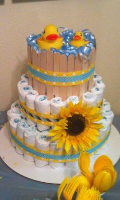 Rubber duckie diaper cake