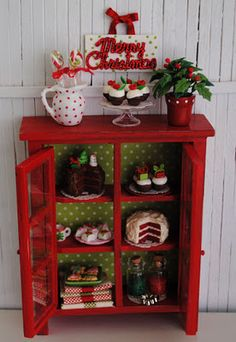 Miniature Christmas Cabinet Filled With Sweets - http://www.etsy.com/listing/85722084/miniature-christmas-cabinet-filled-with