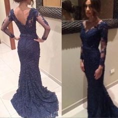 Free shipping, $104.82/Piece:buy wholesale 2015 Navy blue mermaid lace prom dress with sheer/illusion long sleeve V neck backless evening gowns wedding guest dresses vestidos of 2015 Spring Summer,Sweep Train,Reference Images on hjklp88's Store from DHgate.com, get worldwide delivery and buyer protection service.