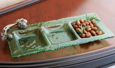 Mud Pie Artichoke Glass Section Server #WhimsicalUmbrella #Glass #Server #Kitchen whimsicalumbrella.com