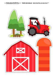 Topo de Bolo Fazendinha Objetos Montessori Activities, Infant Activities, Activities For Kids, Baseball Theme Birthday, Farm Birthday, Animal Crafts For Kids, Art For Kids, Ideas Bautismo, Tractor Drawing