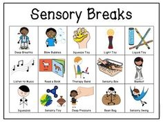 Movement & Sensory Break Visuals for Students with Autism. Great for early intervention and special education. Gross Motor Activities, Autism Activities, Therapy Activities, Sorting Activities, Sensory Diet, Sensory Tubs, Sensory Rooms, Sensory Play, Special Education Classroom