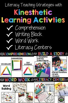 Engage your students with hands-on literacy strategies for guided reading, interventions, word work, writing, and more with these kinesthetic learning activities from Brooke Brown. Incorporating hands-on learning into literacy increases retention, motivation, and allows teachers to address multiple learning styles. Easy to differentiate and apply to multiple grade levels, these comprehension, writing, word work, and literacy center ideas are perfect for elementary learners! Literacy Strategies, Literacy Centers, Kinesthetic Learning, Learning Activities, Making Words, Word Sentences, Learning Styles, Center Ideas, Word Work