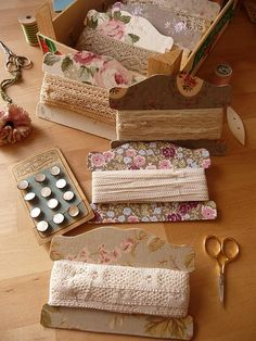 great way to store special ribbons and lace