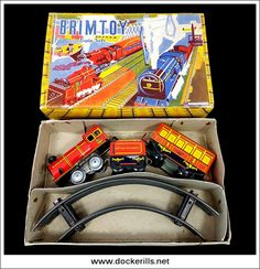 Train Set 352, Brimtoy, Great Britain. (Photo 1 of 2). Clockwork / Wind-Up. Tin Litho Tin Plate Toy. Photo in DOCKERILLS - TIN TOY REFERENCE - GREAT BRITAIN - Google Photos