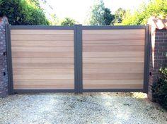 Portail aluminium et bois. Aluminium Gates, Metal Gates, Wooden Gates, Wooden Fence, Backyard Gates, Driveway Gate, Fence Gate, Fencing, Front Gate Design