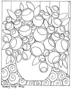RUG HOOK PAPER PATTERN Blooming Circles FOLK aRT KarlaG