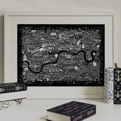 Literary London Map (Frayed Edge, Black Screenprint) / Run For The Hills