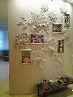 The picture frames could be changed to a similar material for better flow. Plaster Crafts, Plaster Art, Plaster Walls, Mural Art, Wall Murals, Diy Home Decor, Room Decor, Style Deco, Wall Sculptures