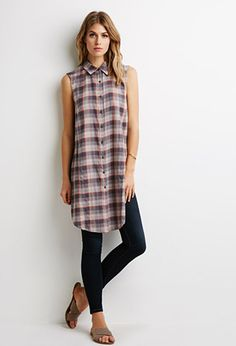 Longline Plaid-Patterned Shirt | Forever 21 - 2000097440