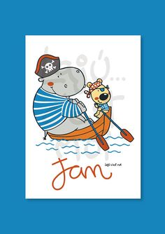 Hippo and bear in a boat boy nursery wall por Lajucestmoi en Etsy