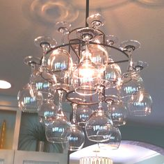 Wine glass chandelier!