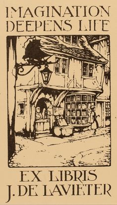 Ex-libris by Anton Pieck for J. de Lavieter ~ Anton Pieck (Netherlands, 1895-1987) ~ Anton Franciscus Pieck was a Dutch painter, artist and graphic artist. His works are noted for their nostalgic or fairy tale-like character and are widely popular, appearing regularly on cards and calendars.