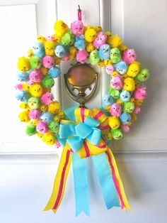 Cute Easter peep wreath with ribbon bow and chineille chicks