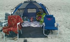 Tips for taking baby to the beach. Next baby WILL be able to sleep anywhere anytime...