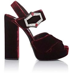 Prada Women's Jeweled-Buckle Velvet Platform Sandals ($990) ❤ liked on Polyvore featuring shoes, sandals, block heel platform sandals, criss cross strap sandals, high heels sandals, chunky block heel sandals and chunky-heel sandals