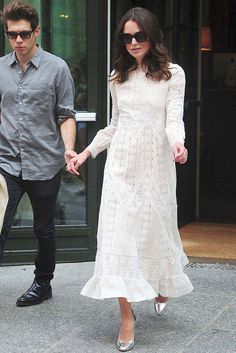 """On her way to an appearance on """"The Daily Show with Jon Stewart,"""" Keira Knightley wore a delicate Valentino frock from the latest collection for resort. [Photo by Alo Ceballos/GC Images]"""