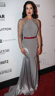 Dita Von Teese dazzles in Jenny Packham at the amfAR Inspiration Gala in Sao Paulo, Brazil