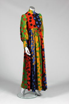 * Jean Muir printed moss-crepe evening gown circa 1970 fabric probably by Liberty printed with bold undulating colour blocks and outsized polka dots
