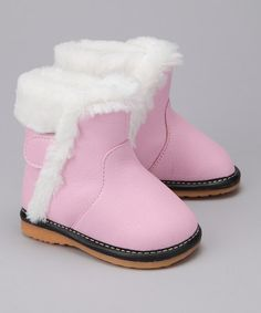 This Light Pink Faux Fur Squeaker Boot by Laniecakes is perfect! #zulilyfinds
