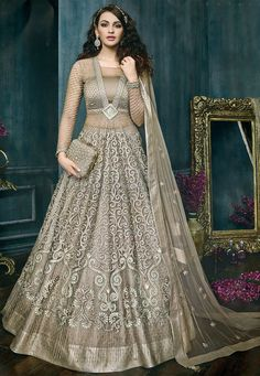 Grey Color Attractive Indian Bride Wedding Wear Fancy Embroidered Gorgeous Look Floor Length Heavy Pant & Lehenga Style Suit Long Anarkali Gown, Indian Anarkali, Indian Gowns, Indian Outfits, Net Lehenga, Lehenga Style, Anarkali Lehenga, Bridal Anarkali Suits, Ghagra Choli