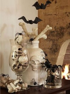 Display mini skulls ($23, potterybarn.com) inside a pretty clear vase, or sprinkle them onto your mantelpiece or tabletop. No matter where you put 'em, they'll serve up a healthy helping of creepy. Click through for the shopping links and more elegant Halloween home decor ideas.