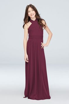 With a crisscross high neck and pleats at the bodice and waist, this long, soft junior bridesmaid dress will complement your bridal party's vibe. Polyester Back zipper; fully lined Dry clean Imported Matches bridesmaid style Burgundy Bridesmaid Dresses Long, Davids Bridal Bridesmaid Dresses, Junior Bridesmaid Dresses, Bridesmaids, Mauve, Flower Girl Dresses, Flower Girls, Ball Dresses, Girls Dresses