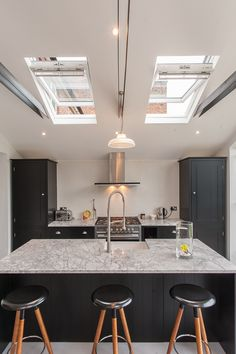 Classic Prismatic Pendant Lights In A Contemporary Kitchen By Morgan Harris Architects