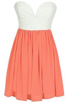 503b875eade2 Sonya Flirty Lace and Chiffon Dress in White Orange Peach  www.lilyboutique.com