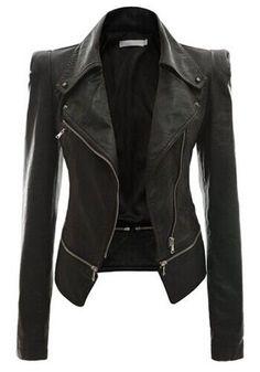 Black Plain Zipper Turndown Collar Long Sleeve Slim Jacket