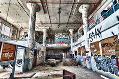 interior shot of abandoned building at mare island naval base