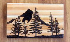 Woodburning Art Pyrography Mountains Pine Trees Landscape
