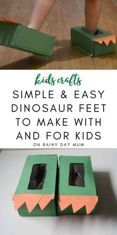 DIY Dinosaur Feet with this simple easy to make craft for toddlers from tissue paper boxes. Fun make and do ideal for play. Dinosaurs For Toddlers, Dinosaur Books For Kids, Dinosaurs Preschool, Dinosaur Activities, Toddler Activities, Dinosaur Worksheets, Dinosaur Projects, Spanish Activities, Vocabulary Activities