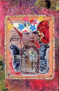 """Joanna Grant Mixed Media Art: Finished Art From Gelli Plate Printed Papers """"Soar"""" art journal page with gelli-plate printed papers"""