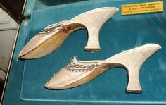 A pair of shoes worn by Marie Antoinette, which are on display at the Musee Carnavalet.  image source: Titillating Tidbits about the Life and Times of Marie Antoinette