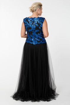 Tulle and Embroidered Lace Ball Gown in Sapphire / Black - Plus Size Evening Shop | Tadashi Shoji