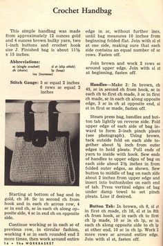 Things Your Grandmother Knew: Crochet A Handbag With A Button Tab Closure