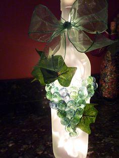 handmade lighted wine bottle