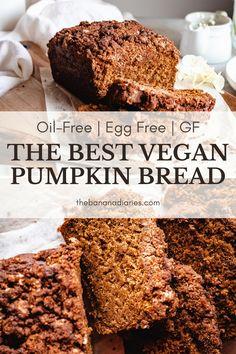Gluten Free Pumpkin Bread, Healthy Pumpkin Bread, Pumpkin Banana Bread, Gluten Free Desserts, Vegan Desserts, Vegan Recipes, Vegan Sugar, Healthy Sugar, Fall Food
