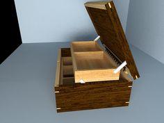 Caja joyero, elaborado en Madera cedro nogal combinada con cedro marfil.