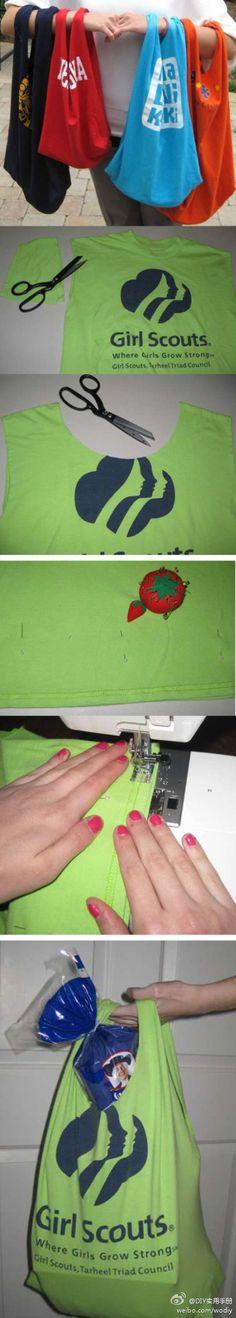 tshirt bags...great idea!