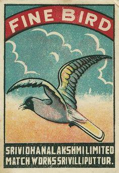Fine Bird matchbox label
