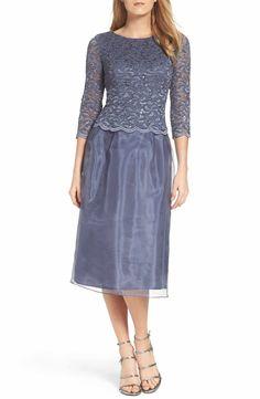 Main Image - Alex Evenings Mixed Media Fit & Flare Dress (Regular & Petite)